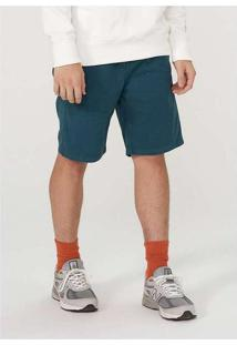 Bermuda Masculina Slim Em Sarja Com Elastano Verde
