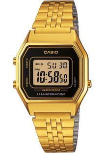 Relógio Feminino Casio Vintage Digital - Feminino-Dourado+Preto