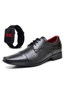 Sapato Social Com Relógio New Dubuy 832Mr Preto