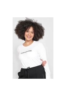Camiseta Cropped Calvin Klein Jeans Logo Branca