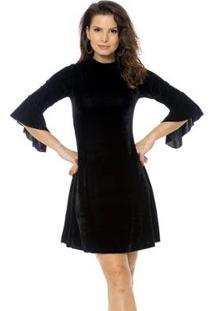 Vestido Bisô Manga Flare Veludo Feminino - Feminino-Preto