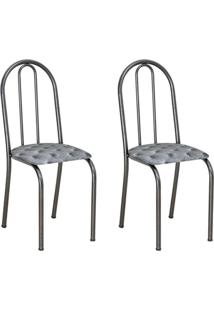 Conjunto 2 Cadeiras Éos Cromo Preto E Estampa Capitonê