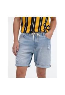 Bermuda Jeans Slim Com Puídos | Blue Steel | Azul | 44