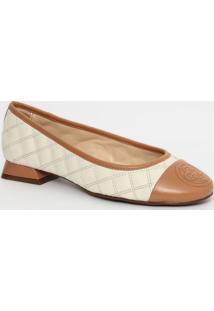 Sapato Em Couro Matelassê- Branco & Marrom Claro- Sacapodarte