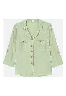 Camisa Manga 3/4 Lisa Com Bolsos E Botões | Marfinno | Verde | P