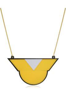 Colar Le Diamond Geométrico Amarelo - Kanui