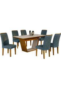 Sala De Jantar Sofia 1.80M Com 6 Cadeiras Imbuia/Off White Linho Azul