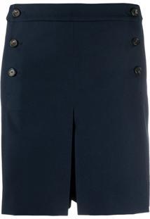 Mulberry Short Cintura Alta Com Pregas - Azul