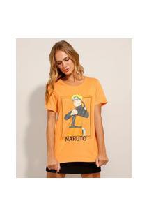 Camiseta De Viscose Alongada Com Fendas Manga Curta Decote Redondo Laranja