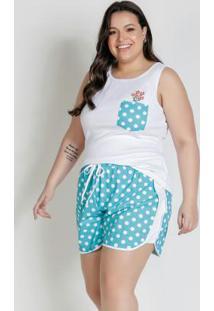 Pijama Curto Com Bolso Frontal Azul E Branco