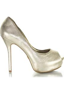 16862afb4e Sapato Feminino Laura Porto Peep Toe Bronze