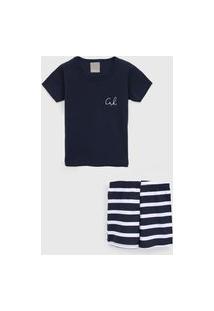 Pijama Carinhoso Curto Infantil Listrado Azul-Marinho/Branco