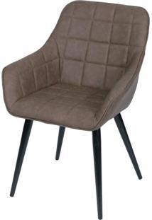 Cadeira Lounge Com Braco Courino Cafe E Costura Quadriculada - 50022 - Sun House