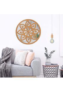 Escultura De Parede Wevans Mandala Sol, Madeira + Espelho Decorativo