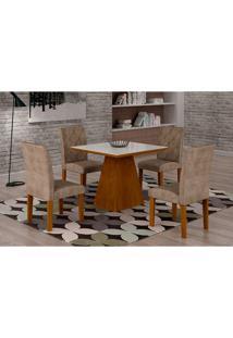 Conjunto De Mesa De Jantar Luna Com Vidro E 4 Cadeiras Ane Iii Suede Branco E Chocolate