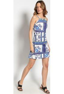 Vestido branco com estampa azul