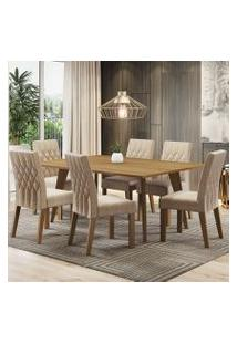 Conjunto Sala De Jantar Madesa Serena Mesa Tampo De Madeira Com 6 Cadeiras Rustic/Imperial Cor:Rustic/Imperial