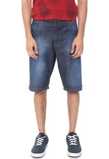 Bermuda Jeans Red Nose Reta Destroyed Azul