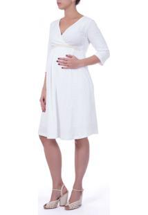 Vestido A Gestante Cinto De Pérola Branco