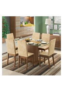 Conjunto Sala De Jantar Valentina Madesa Mesa Tampo De Vidro Com 6 Cadeiras Marrom