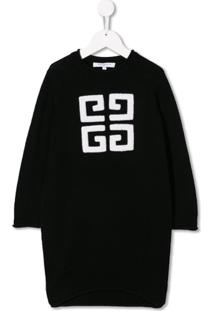 Givenchy Kids Vestido Monogramado - Preto