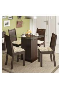 Conjunto Sala De Jantar Madesa Sol Mesa Tampo De Vidro Com 4 Cadeiras Tabaco/Lírio Bege