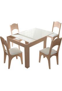 Mesa Extensível Tm37 Com 4 Cadeiras Ca18 Natural/Off White