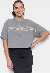 Camiseta Colcci Cropped Disney Donald Duck Feminina - Feminino-Grafite