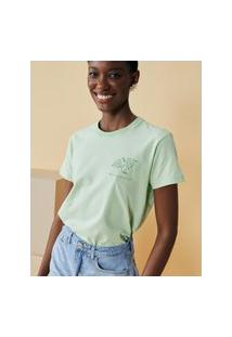 Amaro Feminino T-Shirt Slim Who Is Brave Is Free, Verde Claro