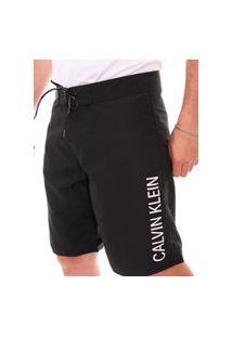 Bermuda Calvin Klein Swimwear Masculina D'Água Vertical Logo Preta