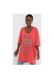 Camiseta Colcci Oversized Lettering Rosa
