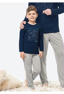 Pijama Azul Estampado Menino