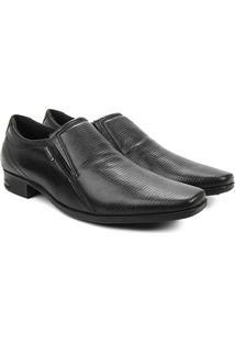 Sapato Social Couro Pegada Sem Cadarço Bico Quadrado Masculino - Masculino-Preto