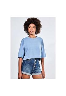Camiseta Cropped Amplinha Azul