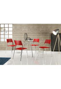 Conjunto 4 Cadeiras Tubo Cromado Poliprop Vermelho Carraro