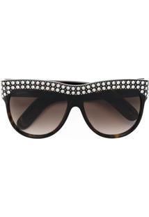 d305fca701de6 Gucci Eyewear Óculos De Sol Com Cristal Swarovski - Marrom