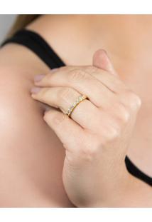 Meia Aliança De Ouro 18K Com Diamantes-Coleção-True
