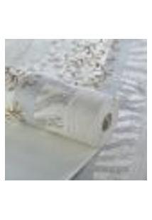 Papel De Parede Importado Textura Listras Cinza Ramo Dourado