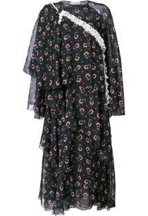 Giacobino Vestido Com Estampa Floral - Preto