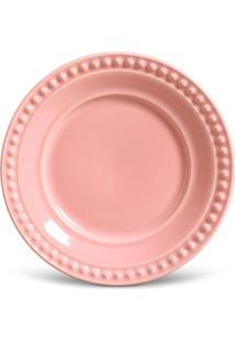 Prato Sobremesa Atenas Cerâmica 6 Peças Rosa Porto Brasil