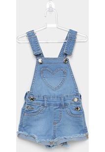 Macaquinho Jardineira Jeans Infantil Milon Coração Feminino - Feminino-Jeans