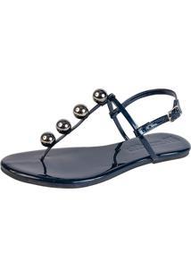 Rasteira Mercedita Shoes Verniz Azul Marinho Com Bola Onix - Azul Marinho - Feminino - Dafiti