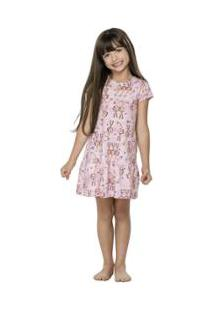 Camisola Manga Curta Infantil Quimby - Feminino-Rosa Claro