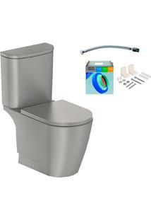 Kit Bacia Com Caixa Acoplada E Assento Neo Griss + Conjunto De Fixação Flexível E Anel De Vedação - Incepa - Incepa