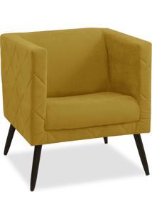Poltrona Decorativa Maisa Suede Amarelo - D'Rossi