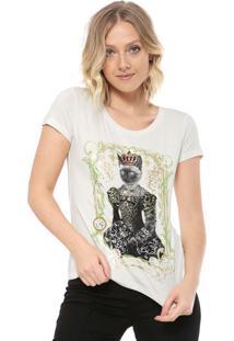 Camiseta Carmim Queen Cat Off-White