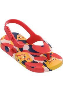 Sandálias Infantil Mini Melissa Feminino - Feminino-Vermelho+Amarelo