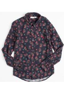 Camisa Mini Pf Bouquet Liberty Infantil Reserva Mini Masculina - Masculino-Marinho