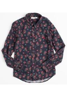 Camisa Mini Pf Bouquet Liberty Reserva Mini Masculina - Masculino-Marinho