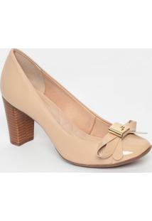 Sapato Em Couro Com Recortes & Laço- Nude- Salto: 7Cjorge Bischoff